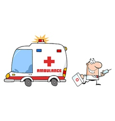 Doctor Running With A Syringe And Bag From Ambulan vector