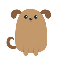 Dog puppy cute cartoon character funny face head vector