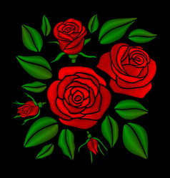 Embroidered red rose flowers set vector