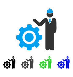 Engineer with gear flat icon vector