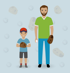 father and his little son going to play baseball vector image