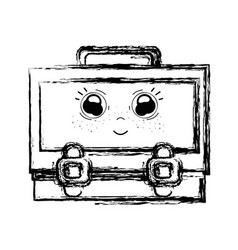 figure kawaii cute happy suitcase design vector image