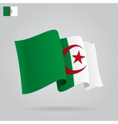 Flat and waving algeria flag vector