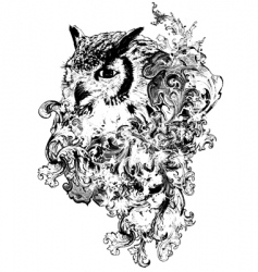 floral owl vector image