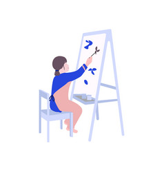 girl painting flat child drawing vector image