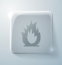 Glass square icon fire sign vector image