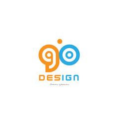 Go g o orange blue alphabet letter logo vector