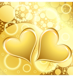 gold heart shiny background vector image