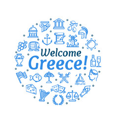 Greece signs round design template thin line icon vector