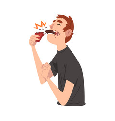 Guy eating chocolate funny man cartoon character vector