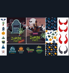 halloween bundle art evil pumpkin bat symbols vector image