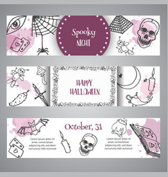hand drawn halloween banner template horror night vector image
