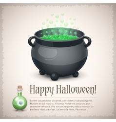 Happy Halloween card with a boiling witch cauldron vector