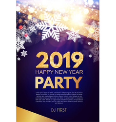 happy new 2019 year party poster template with vector image