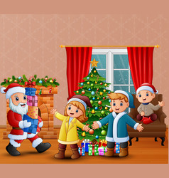 happy santa claus holding a gifts for children vector image