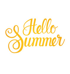 Hello summer season text banner over white vector