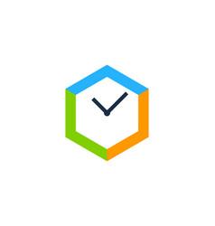 hexagon time logo icon design vector image