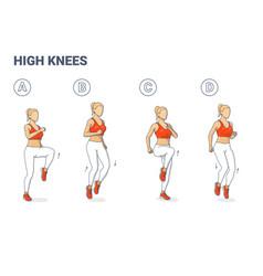 High knees exercise woman colorful cartoon vector