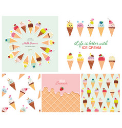 Ice cream big set seamless patterns templates vector