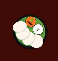 Idli with chutney and sambar south indian food vector