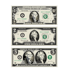 In this graphic the 1 and 2 dollar bills are mere vector