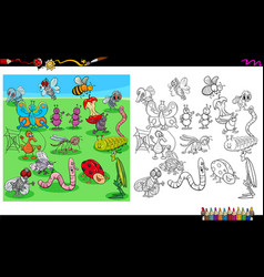 Insects animal characters coloring book vector