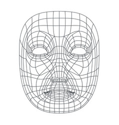 isolated on white human face mesh 3d modeling vector image