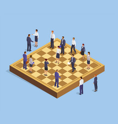 Isometric business people in chess game strategy vector