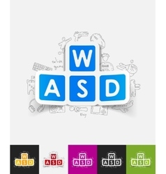 Keypad paper sticker with hand drawn elements vector