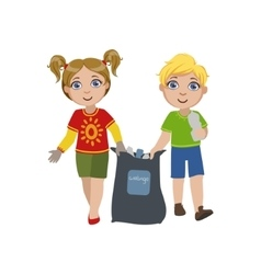 Kids collecting garbage vector