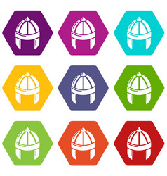 knight helmet guard icons set 9 vector image
