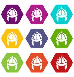 Knight helmet guard icons set 9 vector