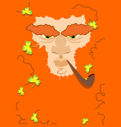 Leprechaun with red beard st patricks day vector