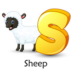 Letter s is for sheep cartoon alphabet vector