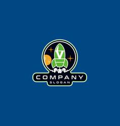 Letter v rocket logo design vector