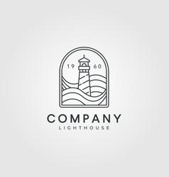 lighthouse logo line art design minimalist vector image