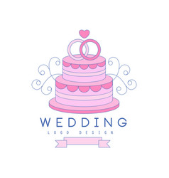 Line logo design with wedding cake and rings on vector