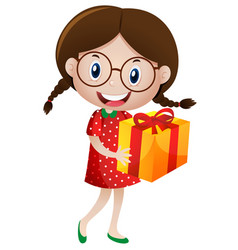 Little girl holding present box vector