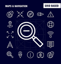 Maps and navigation line icon pack for designers vector