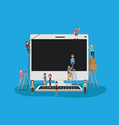 Mini people with desktop computer vector