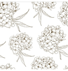 Monochrome Seamless Background with Hydrangea vector image