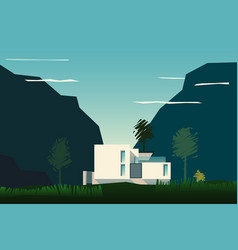 mountain landscape with a house vector image