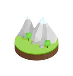 Mountains in the snow in green valley icon vector image