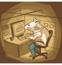 Mouse work at office cartoon vector