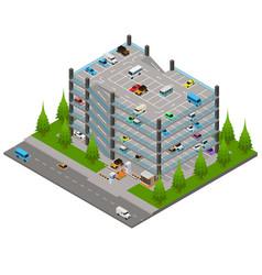 Multi storey car park concept 3d isometric view vector