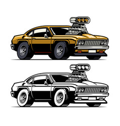 muscle car with big super charger engine out off vector image