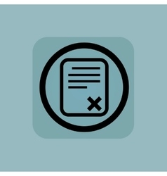 Pale blue declined document sign vector