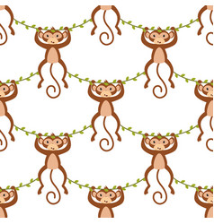 pattern with monkey on white background vector image
