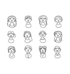 People characters national hispanic heritage line vector