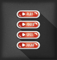 play buttons design in multiple languages vector image